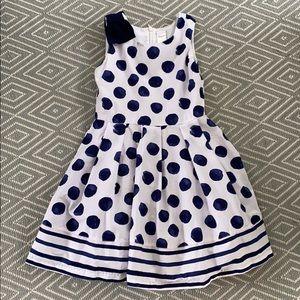 Gymboree navy/white polka dot dress EUC